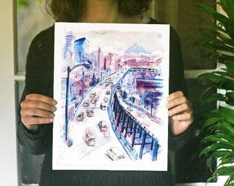 "Goodbye Alaskan Way Viaduct | Seattle, WA watercolor Illustration print | 11x14"" art for standard sized frames and mats"