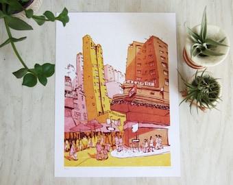 "MONG KOK 旺角 - Hong Kong 香港 / Kowloon 九龍 Art Print - 9""x12"" Urban Architecture Illustration"