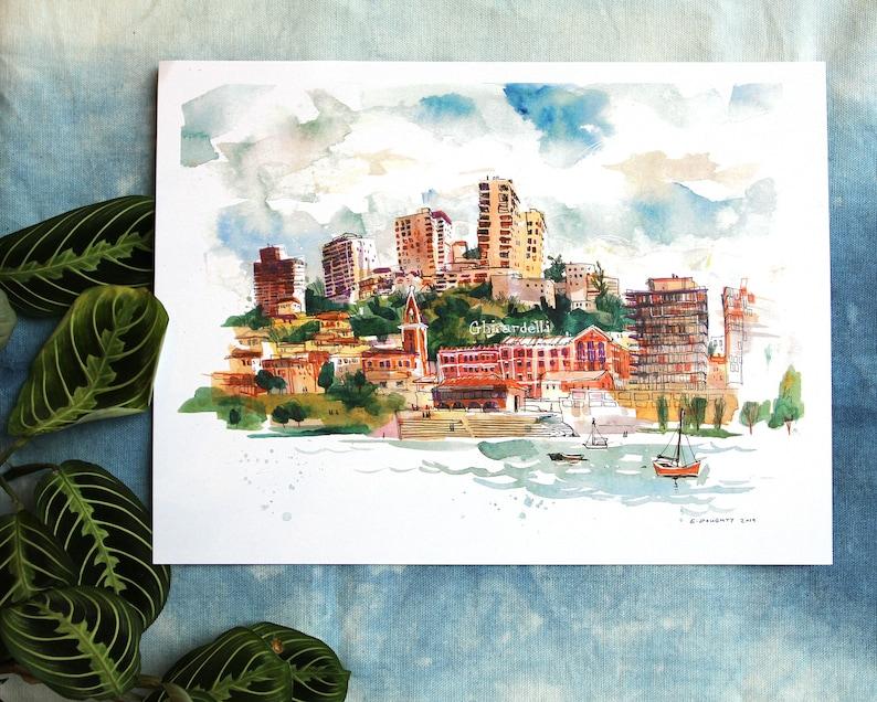 GHIRARDELLI SQUARE  San Francisco CA Art Print  12 x 9 image 0
