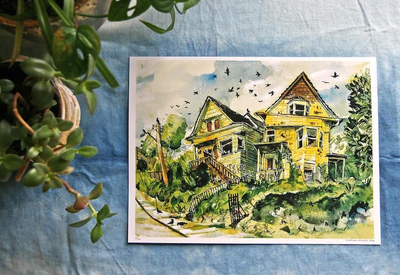 Abandoned Victorians  Vanishing Seattle Watercolor image 0