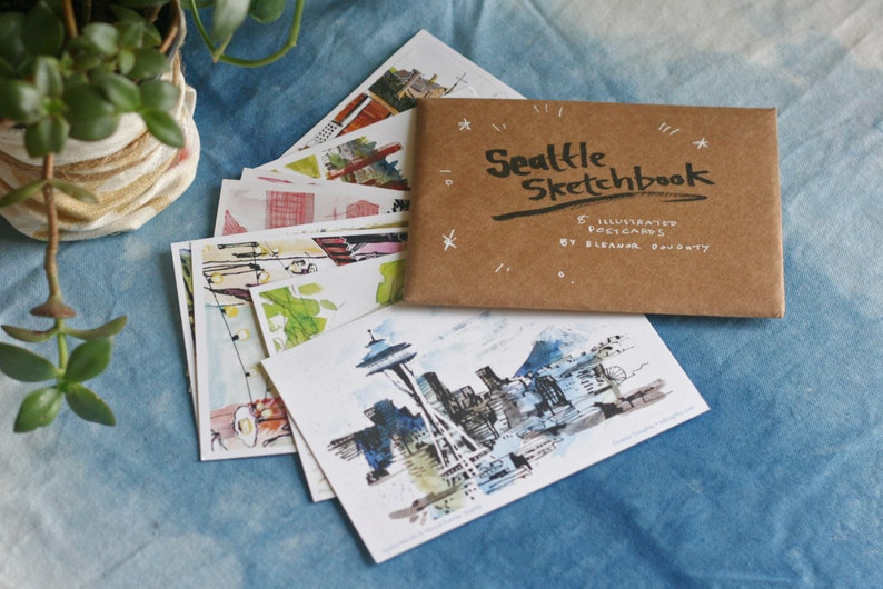 SEATTLE POSTCARDS  Set of Eight 8 Assorted 4x6 image 0