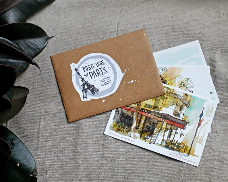 POSTCARDS FROM PARIS  set of 8 illustrated postcards  image 0