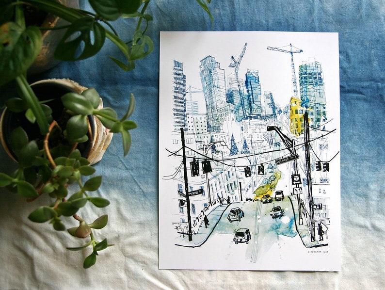 MELROSE & DENNY  Seattle Cityscape Watercolor Illustration  image 0