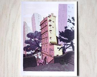 SHEUNG WAN MORNING - Hong Kong 香港 City Art - Urban Illustration - 9x12 Limited Edition Art Print