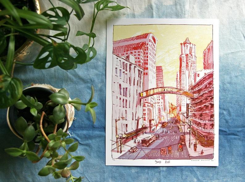 3RD AVE SEATTLE  Pacific Northwest urban art print  9x12 image 0