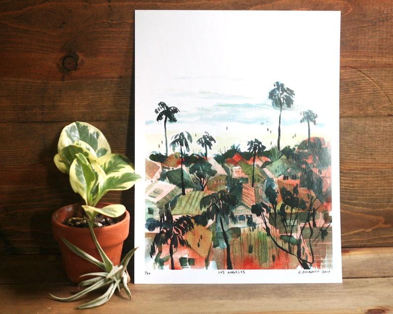 LOS ANGELES  LA Beach Watercolor Art Print  Pacific image 0