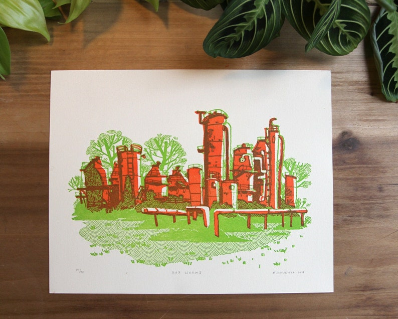 GAS WORKS PARK  Limited Edition Handmade Letterpress Print  image 0