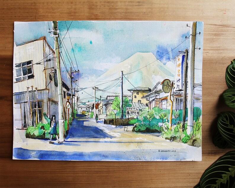 KAWAGUCHIKO & MT FUJI  富士山  japan plein air illustration  image 0