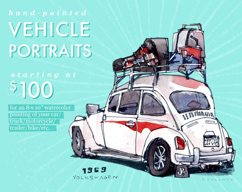 CUSTOM VEHICLE PORTRAITS  commission original artwork 10x8 image 0
