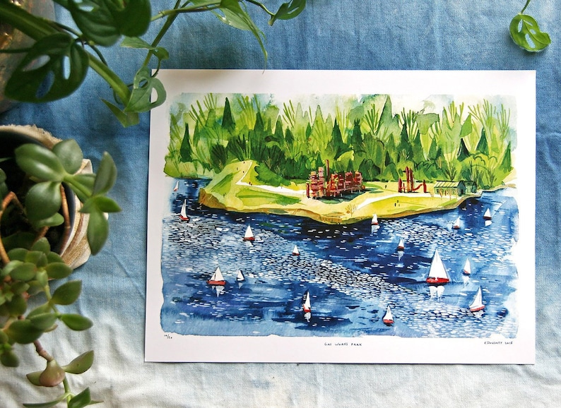 GAS WORKS PARK / Seattle Watercolor Art Print / Sailing on image 0