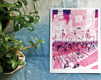 "SHIBUYA SCRAMBLE 渋谷クロッシング  | Shibuya Crossing Tokyo 渋谷区 東京 日本 Watercolor Illustration | 9x12"" Digital Art Print"