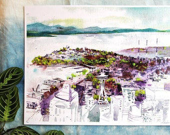 SEATTLE SPRING | 11x14 limited edition art print | pacific northwest watercolor cityscape