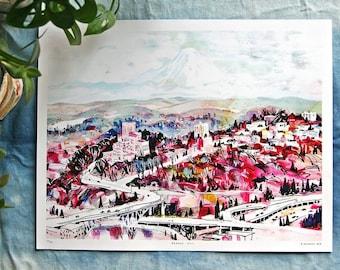 "BEACON HILL & RAINIER | 11x14"" digital art print - watercolor seattle illustration - limited edition Pacific Northwest artwork"