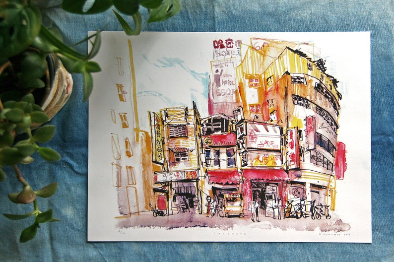 TAICHUNG CITY 台中  Taiwan 台灣 Urban Sketch Mixed Media image 0