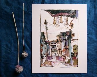"Onomichi, Japan 尾道 | Shrine Torii | 8.5x11"" A4 watercolor illustration print"