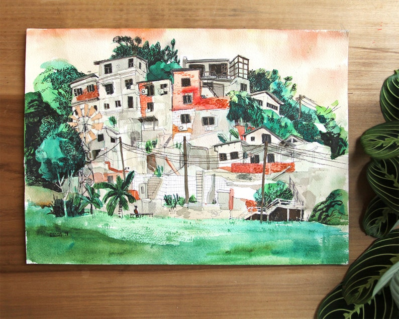 TREASURE HILL 寶藏巖 TAIPEI 臺北市  original watercolor painting  image 0