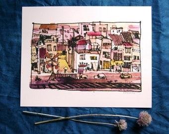 "Onomichi, Japan 尾道 | Train Tracks | 8.5x11"" A4 watercolor illustration print"