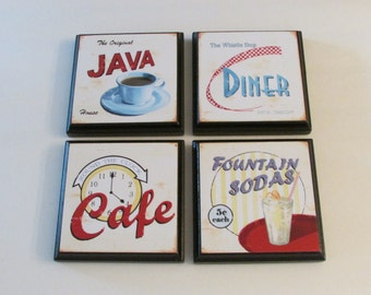 Retro Kitchen Diner Cafe Room Wall Decor Plaques   Set Of 4 Retro Kitchen  Room Decor   Retro Diner Wall Signs   Retro Cafe Wall Decor