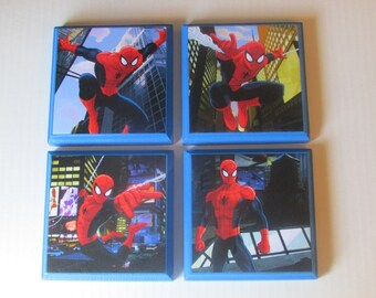 Spiderman Room Wall Plaques   Set Of 4 Spiderman Boyu0027s Room Decor    Spiderman Wall Signs   Spiderman Bedroom Decor