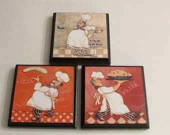 kitchen chef room wall plaques set of 3 chef kitchen room decor chef cook room signs - Kitchen Chef Decorations