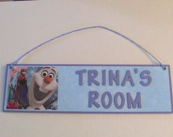 Disney Frozen Personalized Room Decor Sign - Elsa Anna Olaf - Frozen Room Decor - Elsa Name Sign - Anna Name Sign