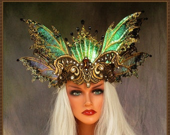 Fairy Wings Crown**Iridescent Clear/Gold/Black**RTS**FREE SHIPPING**Costume/Photography/Masquerade/Cosplay