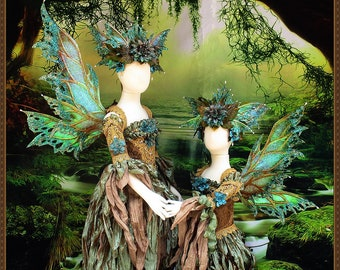 Children's Fairy Wings/Fairy Dress**Teal/Bronze/Gold**7-11 yrs. old**FREE SHIPPING**Costume/Photography/Halloween