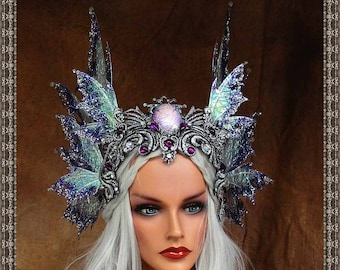 Iridescent White/Purple/Silver Fairy Queen Crown**FREE SHIPPING**Costume/Photography/Masquerade/Cosplay/Weddings/Halloween