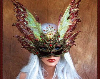 Fairy Wings Mask***Iridescent Red/Gold**FREE SHIPPING**Costume/Masquerade/Weddings