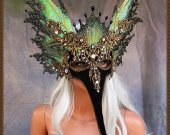 Fairy Wings Mask**Iridescent Black/Gold**FREE SHIPPING**Costume/Masquerade/Weddings/Photo