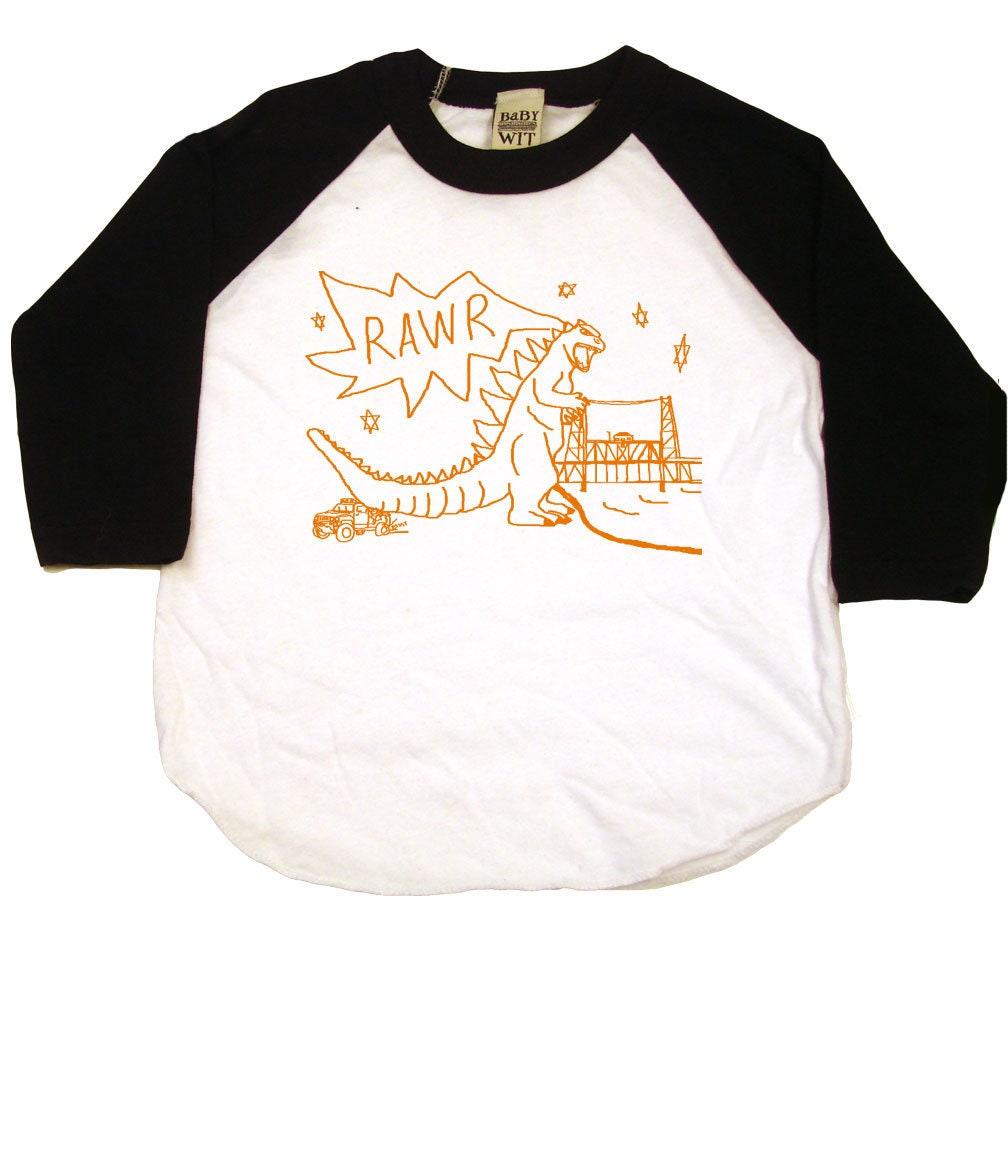 Godzilla Attacks The Portland Steel Bridge Toddler T-shirt Or Baseball Raglan Shirt Made In The Usa Unisex Tshirt