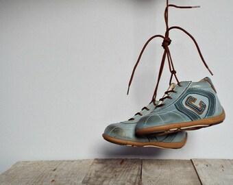 VINTAGE Italian '80 kids shoes, blue leather shoes, 1980 child boots, blue grey baby shoes, winter shoes, size EUR 18 - US 2 1/2 - 3