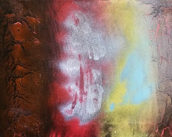 Bloodstone #1 Original Abstract Spray Paint Spiritual Painting 11x14 Crystal Healing Energy Art On Stretched Canvas 27.94 x 35.56 cm