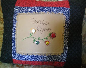 Garden Thyme Pillow with Hand Stitched Accents