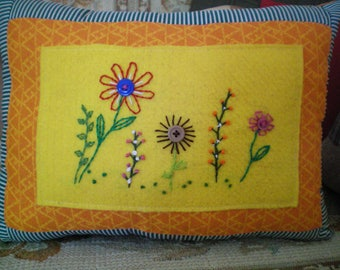 """Country Accent Pillow """"Garden Flowers"""" ~  Hand Stitched"""
