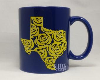 Texas Rose Coffee Mug   Yellow Rose   Texas State Pride   Texan   Wildflowers   Bluebonnet Blue