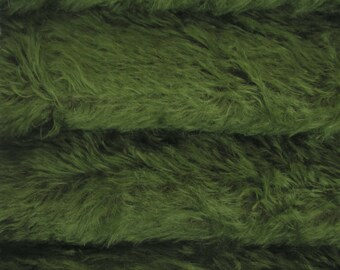 Quality 325S/C - Mohair - 1/6 yard (Fat) in Intercal's Color 239SD-Forest Green w/Dark Back. A German Mohair Fabric for Teddy Bear Making