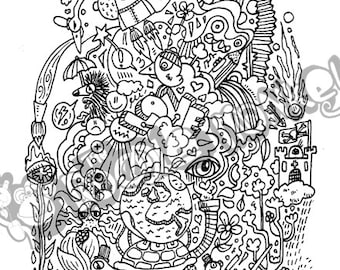 Space n time - Unique Adult Colouring Sheet