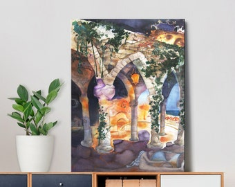 The Nymphaeum At Night - Canvas Art Prints of Original Still Life Painting Wall Art Gift for Him