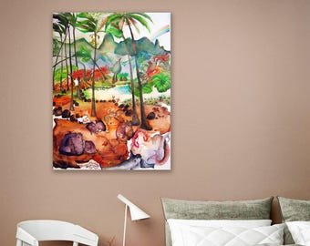 Seaside Wall Art Beach with Palms Painting Seascape Art, Watercolor Painting Original watercolor,40x24in,Kawai,girls, beach,Hawaii,paradice