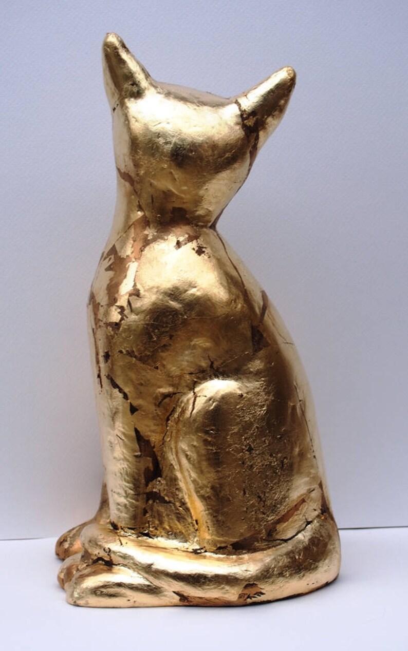 Ceramic Cat Decor ~ Sculpture Art ~ Golden Cat  Sculpture ~ Ceramic Cat Decor ~ Modern Home Decor ~ Golden Cat Ceramic ~