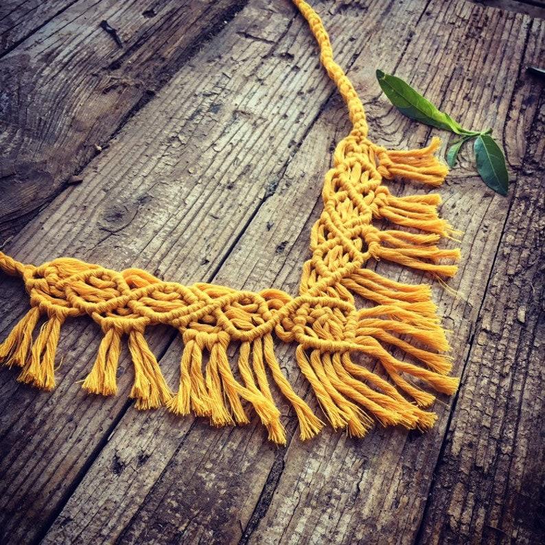 Ethnic necklace Tribal Macrame Necklace,yellow tassel necklace Fringe Cotton Rope Knot Necklace boho Macrame Jewelry Festival Jewelry