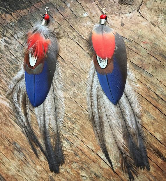 Federschmuck Handgemacht Naturfeder Federohrringe aus natürlichen Federn