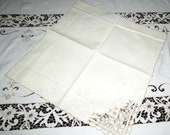 Vintage Madeira Tablecloth with 12 Napkins Cut Work Linen Hand Made Lace Embroidery Excellent Condition