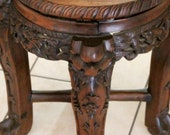 Antique Chinese Carved Wood Side Table Plant Stand Dragons Open Work Ca 19th Century Qing Dynasty