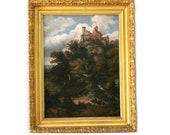 Antique Oil Painting on Canvas Landscape Woodland French Art School 19th Century Red Brick Castle in Mountain and Horse Riding People