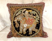 Vintage Old Thai Burmese Burma KALAGA Embroidered Tapestry Decorative Trow Pillow -Buddha, Elephant