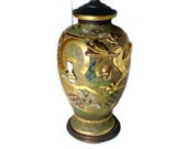 Antique Satsuma Vase Lamp Arhats with a Sinuous Dragon Meiji Period 15 39 39 (38 cm) Vase Height Very Good Condition