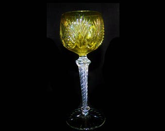 be6d5ad69a7 St Louis Air Twisted Stem Cut Crystal Colored Wine Glass 7 1 2   Elegant  Glass - Read Description