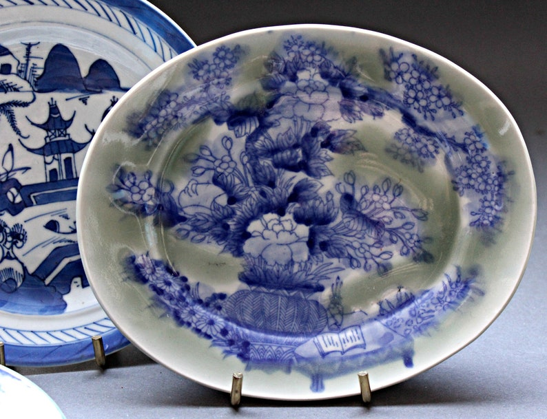 Chinese Canton Blue and White Porcelain Plates Old Willow Saucer Lot of 4